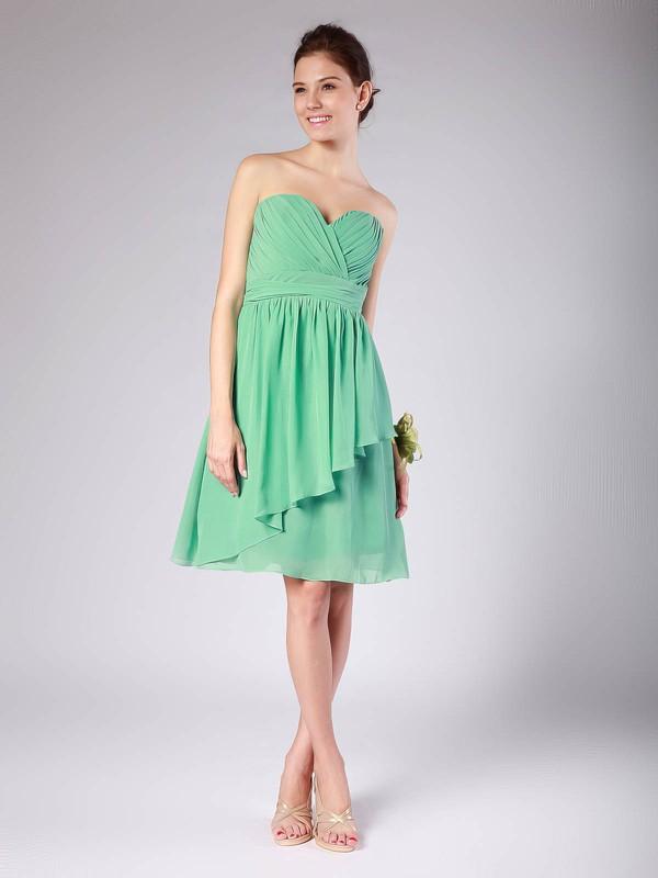 Sweetheart A-line Knee-length Chiffon Pleats Bridesmaid Dresses #DOB02013615