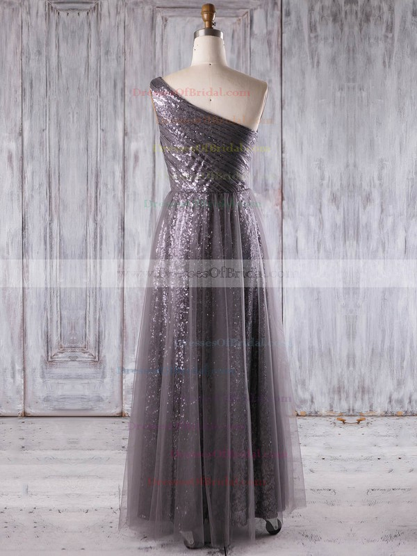 Tulle Sequined A-line One Shoulder Floor-length with Ruffles Bridesmaid Dresses #DOB01013269