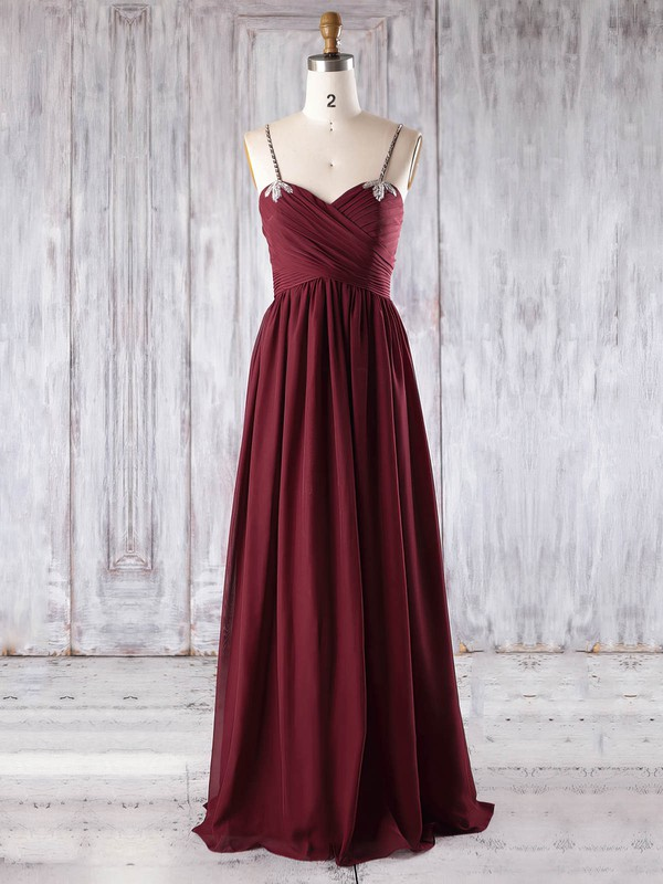 Chiffon Empire Sweetheart Floor-length with Beading Bridesmaid Dresses #DOB01013270