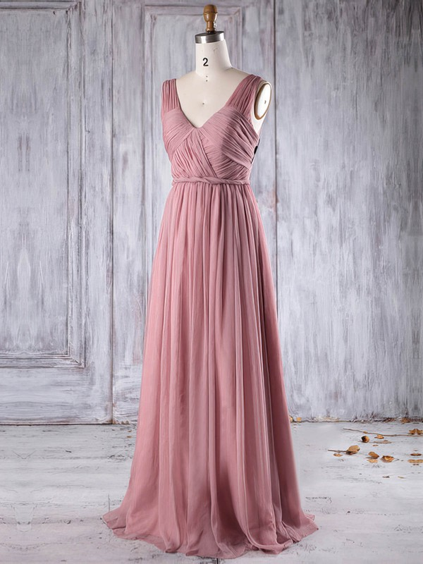 Chiffon A-line V-neck Floor-length with Ruffles Bridesmaid Dresses #DOB01013271