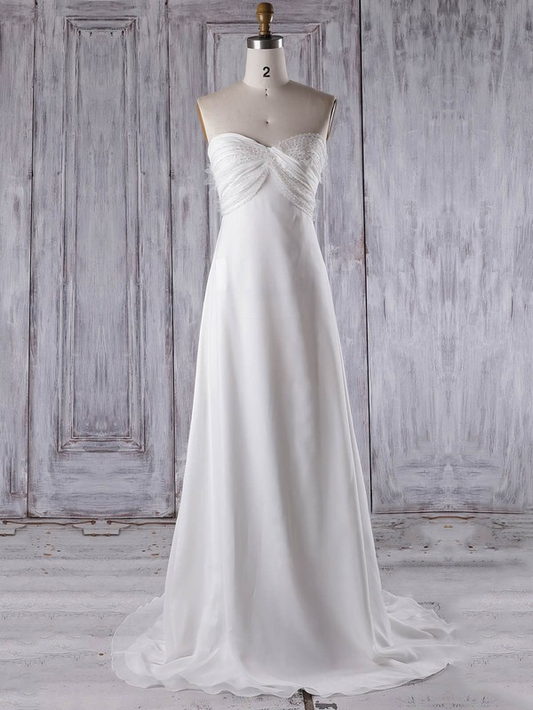 Chiffon Empire Sweetheart Sweep Train with Criss Cross Bridesmaid Dresses #DOB01013275
