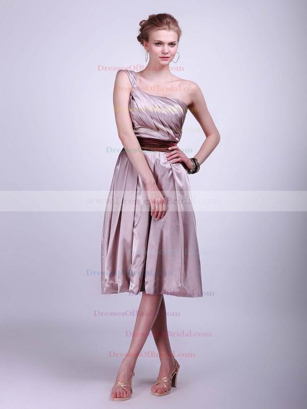 One Shoulder A-line Tea-length Satin Sashes/Ribbons Bridesmaid Dresses #DOB02013625
