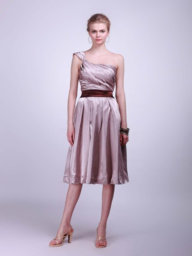 One Shoulder A-line Tea-length Satin Sashes/Ribbons Bridesmaid Dresses #DOB02013625