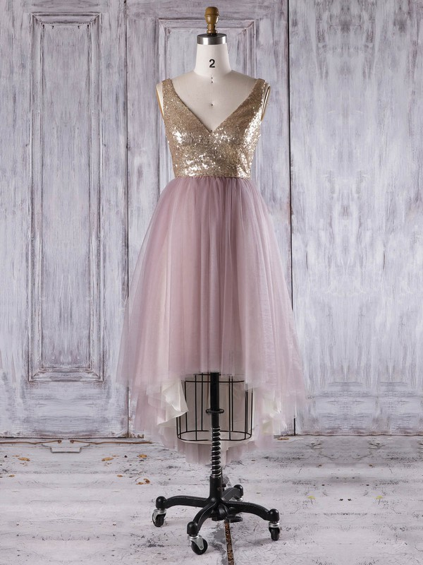 Tulle Sequined A-line V-neck Asymmetrical with Ruffles Bridesmaid Dresses #DOB01013276