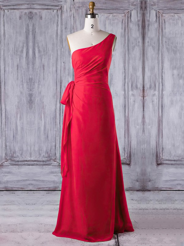 Chiffon Sheath/Column One Shoulder Floor-length with Ruffles Bridesmaid Dresses #DOB01013278