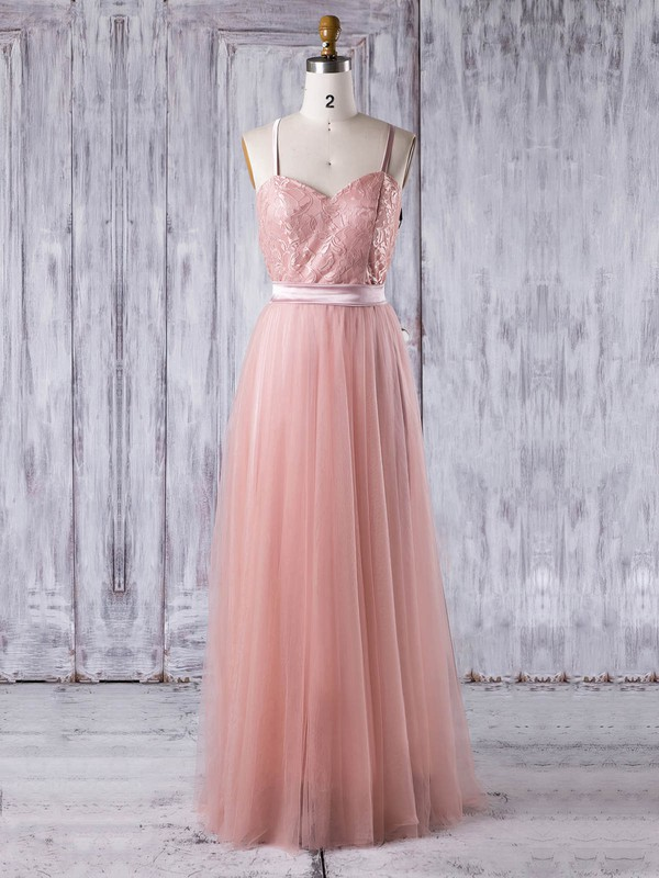 Lace Tulle A-line Sweetheart Floor-length with Sashes / Ribbons Bridesmaid Dresses #DOB01013279