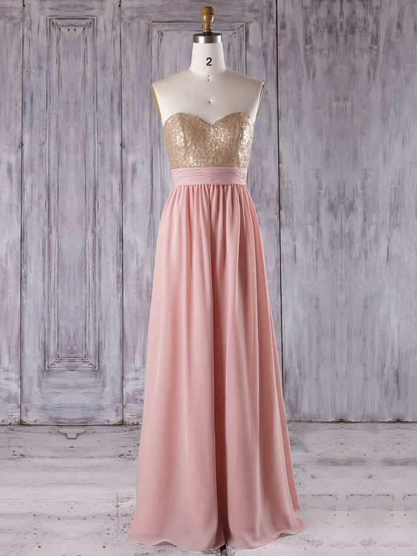Chiffon A-line Sweetheart Floor-length with Sequins Bridesmaid Dresses #DOB01013280