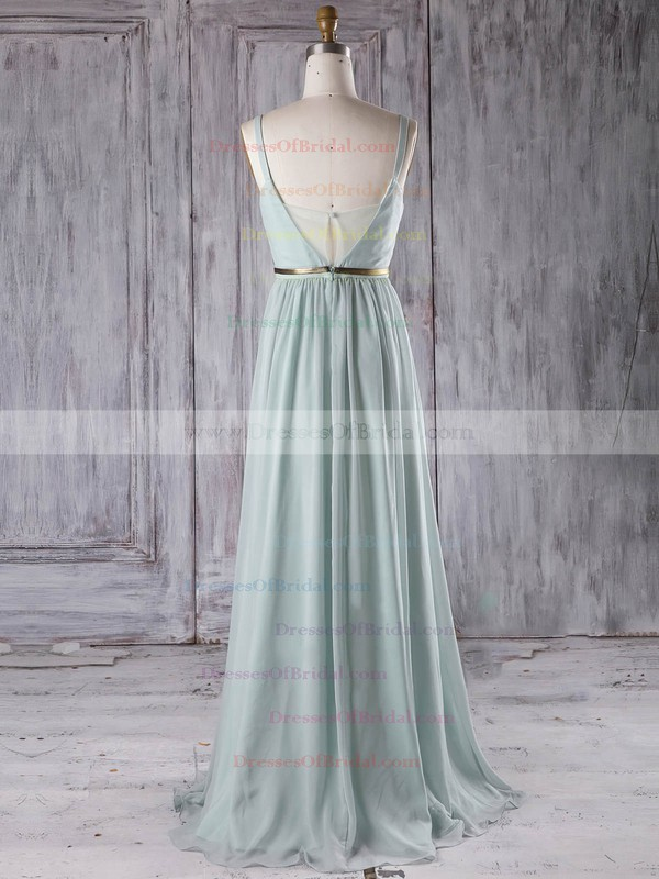 Chiffon A-line V-neck Floor-length with Sashes / Ribbons Bridesmaid Dresses #DOB01013281