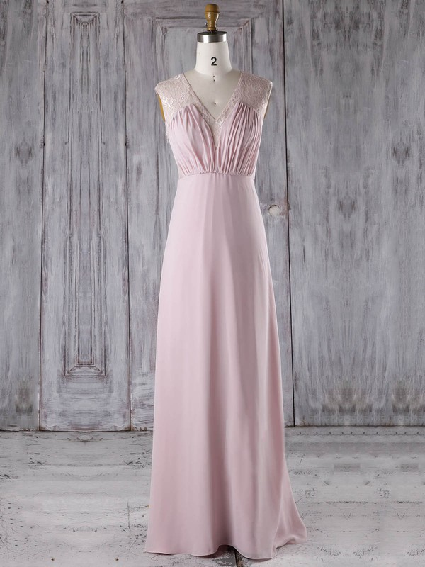 Lace Chiffon A-line V-neck Floor-length with Ruffles Bridesmaid Dresses #DOB01013282