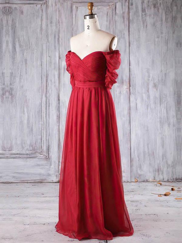 Chiffon A-line Off-the-shoulder Floor-length with Ruffles Bridesmaid Dresses #DOB01013284