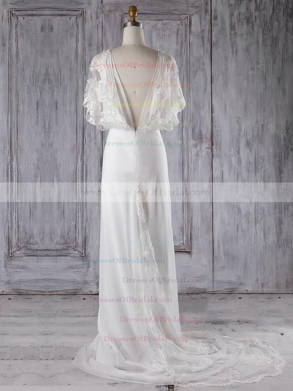 Chiffon Tulle Sheath/Column V-neck Sweep Train with Appliques Lace Bridesmaid Dresses #DOB01013287