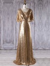 Sequined Sheath/Column V-neck Sweep Train with Appliques Lace Bridesmaid Dresses #DOB01013288
