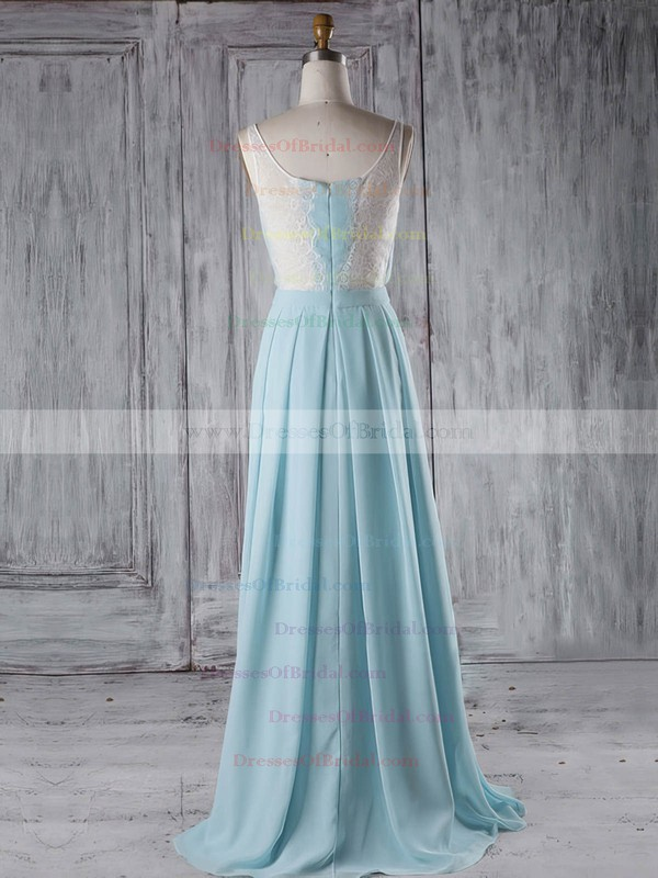 Chiffon A-line V-neck Floor-length with Lace Bridesmaid Dresses #DOB01013289