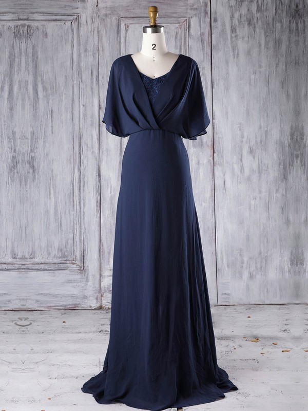 Lace Chiffon A-line V-neck Sweep Train with Sequins Bridesmaid Dresses #DOB01013290