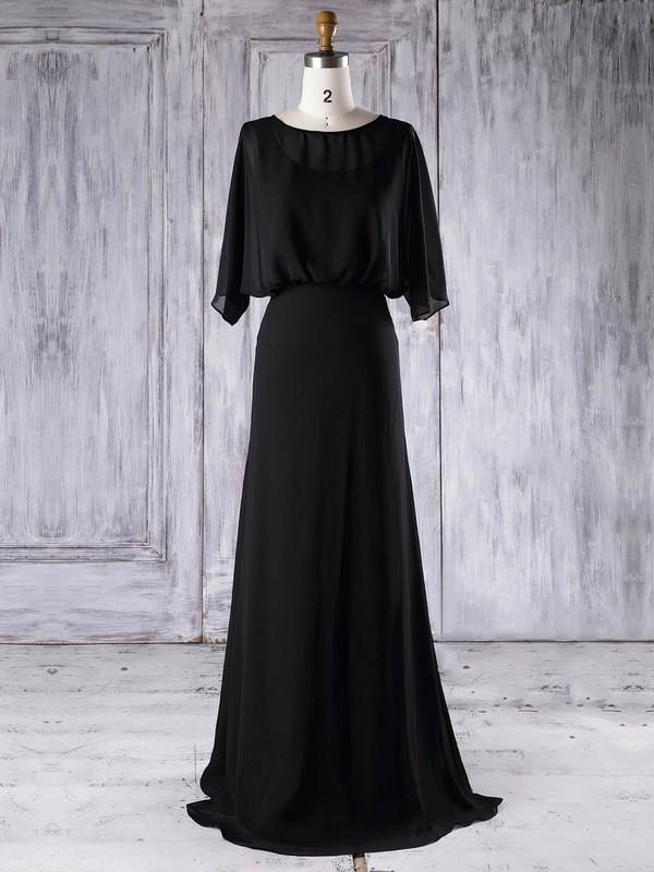 Chiffon A-line Scoop Neck Floor-length with Ruffles Bridesmaid Dresses #DOB01013291