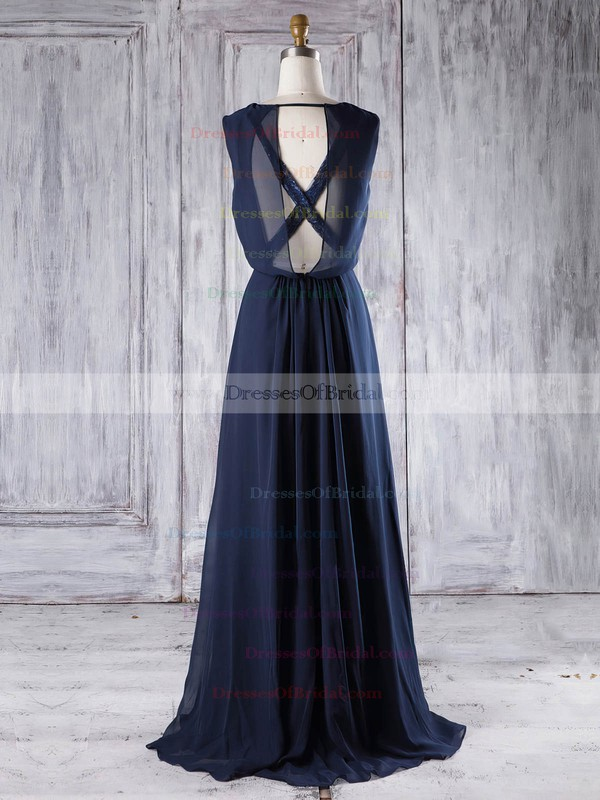 Lace Chiffon A-line Scoop Neck Floor-length with Sequins Bridesmaid Dresses #DOB01013292