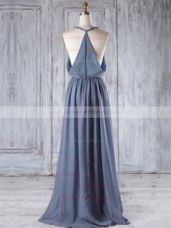 Chiffon A-line V-neck Floor-length with Ruffles Bridesmaid Dresses #DOB01013293