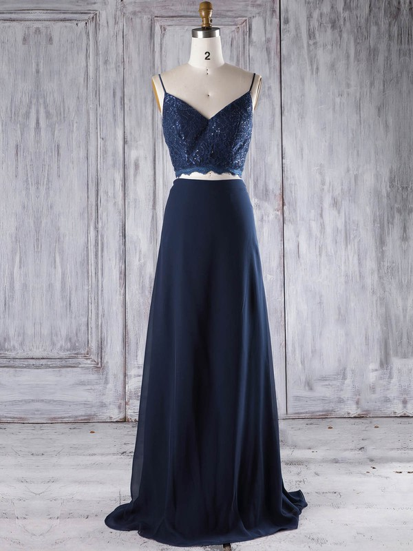 Chiffon A-line V-neck Floor-length with Lace Bridesmaid Dresses #DOB01013294