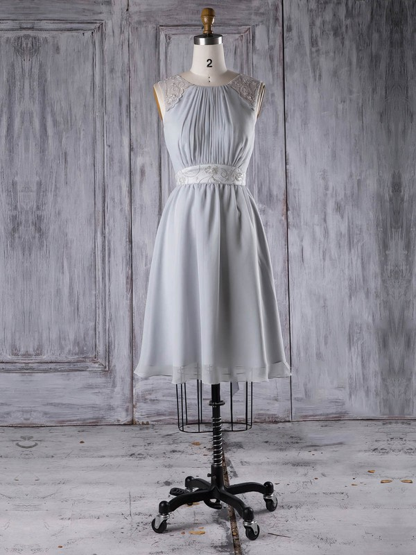 Chiffon A-line Scoop Neck Short/Mini with Sashes / Ribbons Bridesmaid Dresses #DOB01013295