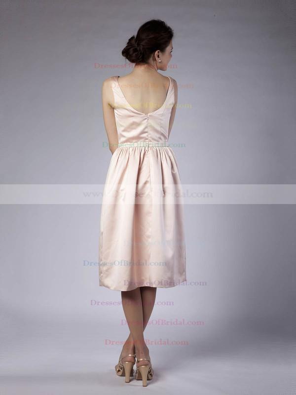 Bateau Sheath/Column Tea-length Satin Sashes/Ribbons Bridesmaid Dresses #DOB02013678