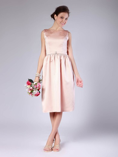 Bateau Sheath/Column Tea-length Satin Sashes/Ribbons Bridesmaid Dresses #DOB02013678