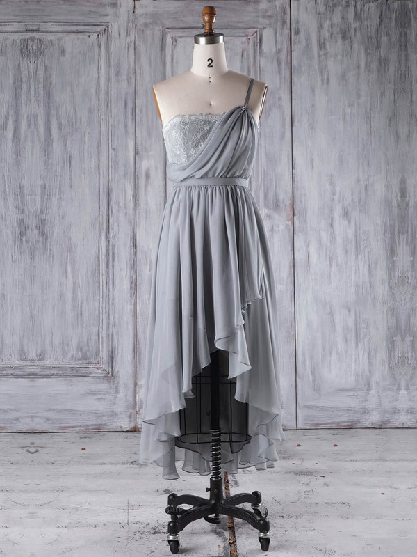Lace Chiffon A-line One Shoulder Asymmetrical with Sashes / Ribbons Bridesmaid Dresses #DOB01013296