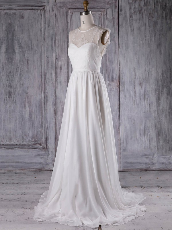 Lace Chiffon A-line Scoop Neck Sweep Train with Ruffles Bridesmaid Dresses #DOB01013297