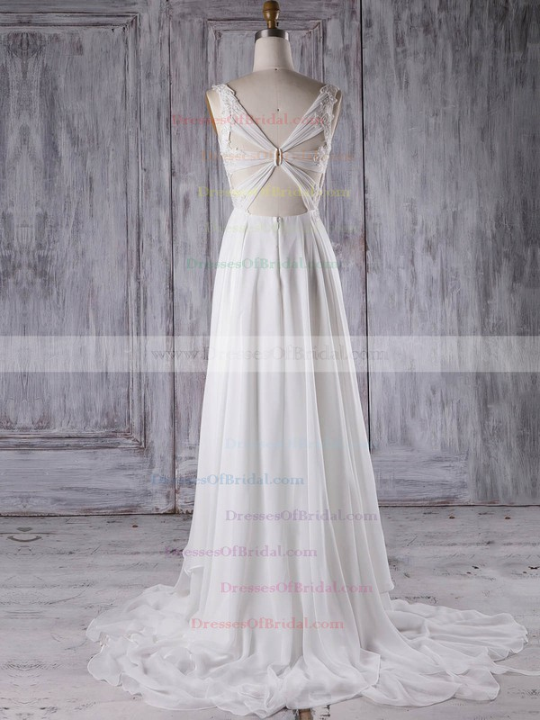 Chiffon A-line V-neck Sweep Train with Appliques Lace Bridesmaid Dresses #DOB01013299