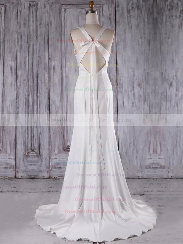 Silk-like Satin Trumpet/Mermaid V-neck Sweep Train with Ruffles Bridesmaid Dresses #DOB01013300