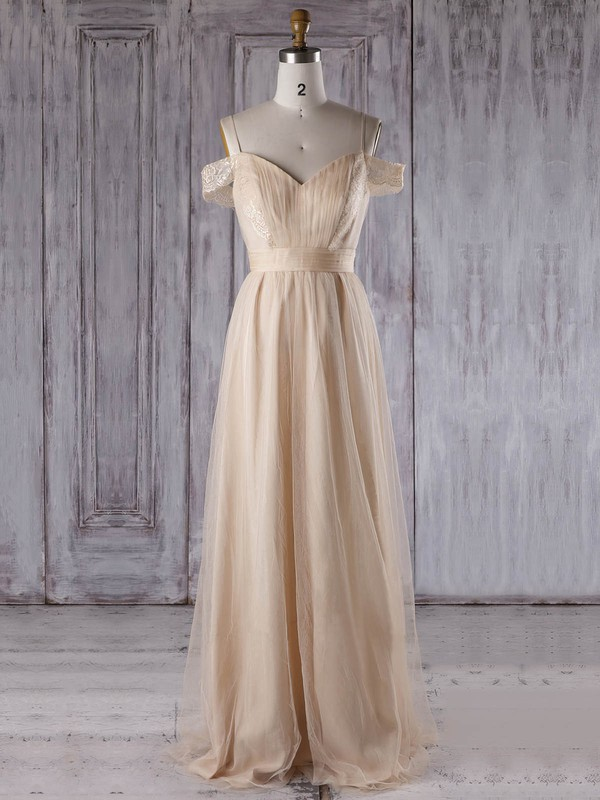 Tulle A-line V-neck Floor-length with Lace Bridesmaid Dresses #DOB01013302