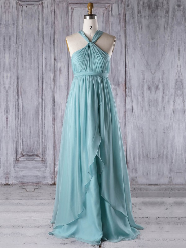 Chiffon Empire V-neck Floor-length with Ruffles Bridesmaid Dresses #DOB01013303