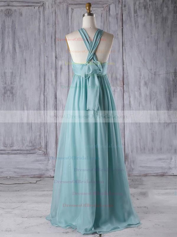 Chiffon Empire V-neck Floor-length with Ruffles Bridesmaid Dresses #DOB01013303