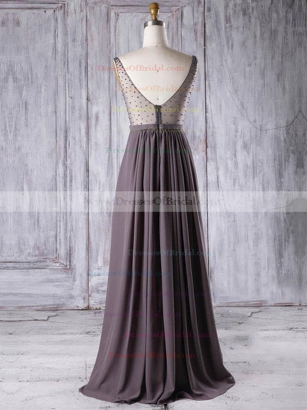 Chiffon Tulle A-line V-neck Floor-length with Pearl Detailing Bridesmaid Dresses #DOB01013304