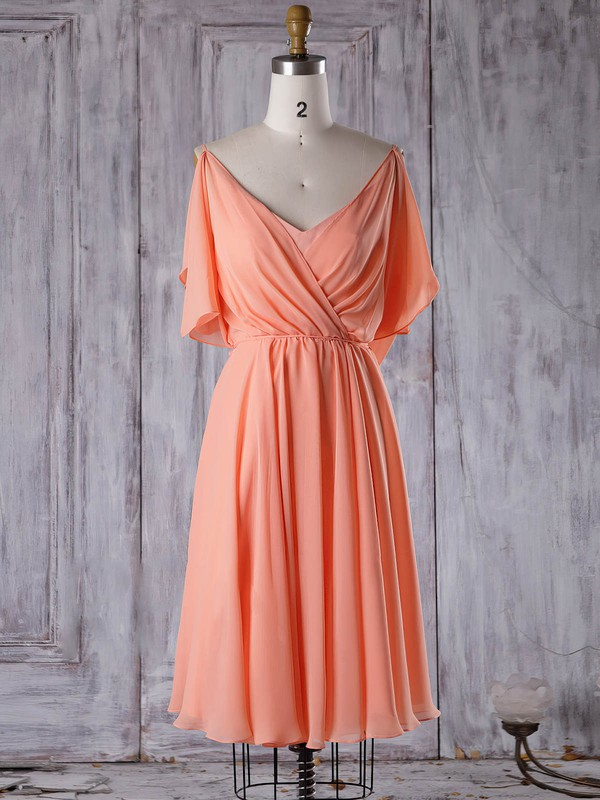 Chiffon A-line V-neck Short/Mini with Sashes / Ribbons Bridesmaid Dresses #DOB01013305