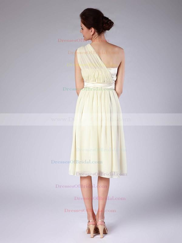 One Shoulder Sheath/Column Knee-length Chiffon Pleats Bridesmaid Dresses #DOB02013683