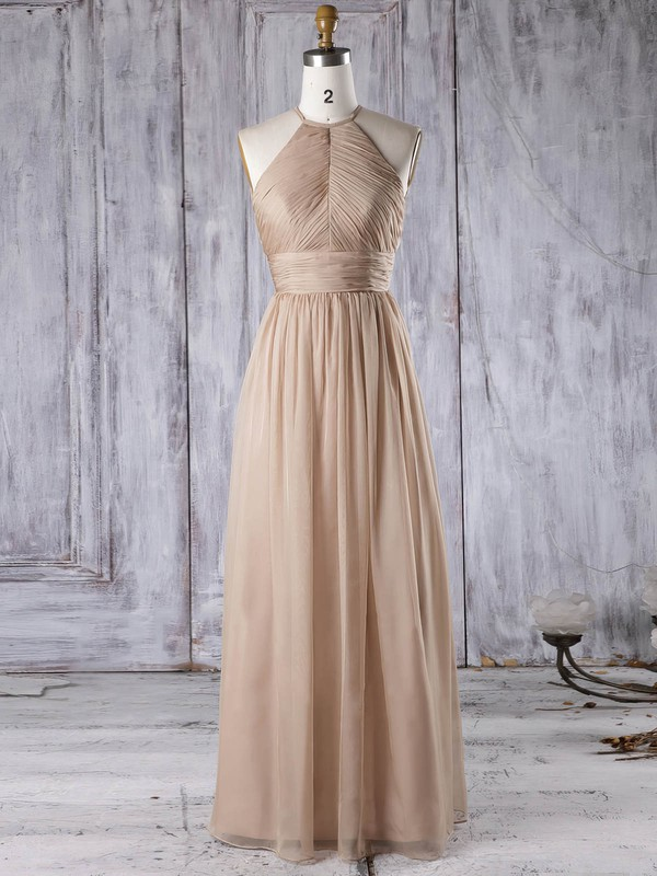 Chiffon A-line Scoop Neck Floor-length with Ruffles Bridesmaid Dresses #DOB01013306