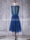 Chiffon Tulle A-line V-neck Knee-length with Lace Bridesmaid Dresses #DOB01013307