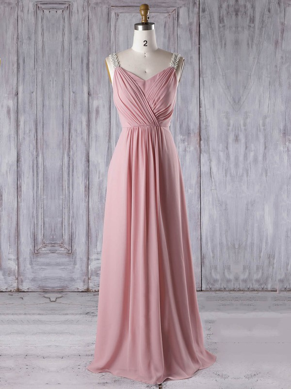 Chiffon A-line V-neck Floor-length with Appliques Lace Bridesmaid Dresses #DOB01013309