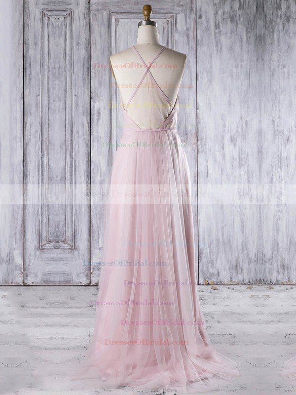 Tulle A-line Scoop Neck Sweep Train with Sashes / Ribbons Bridesmaid Dresses #DOB01013310