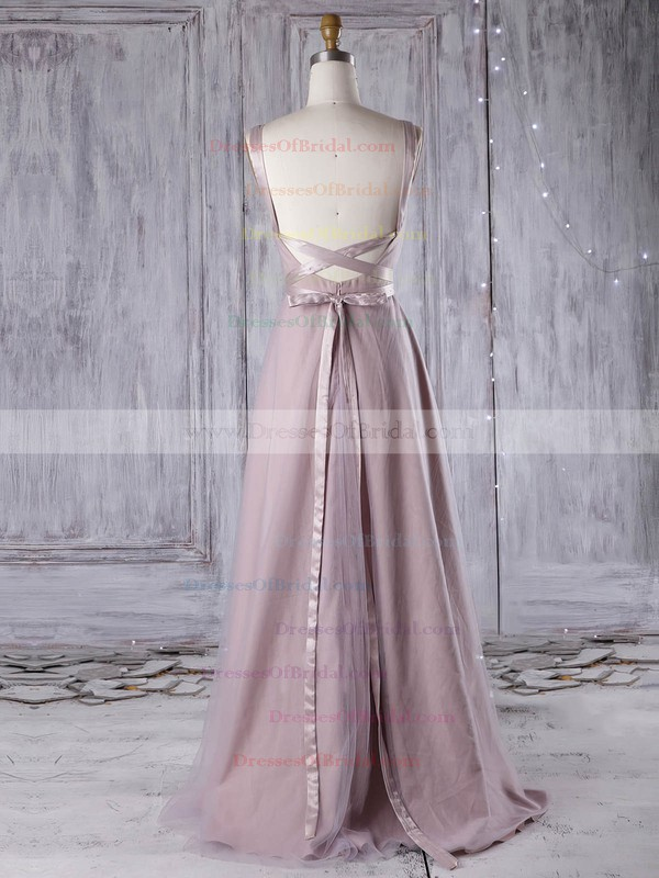 Tulle A-line V-neck Floor-length with Sashes / Ribbons Bridesmaid Dresses #DOB01013311