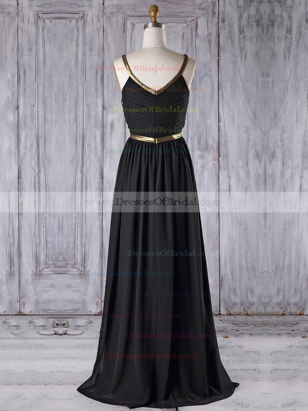 Chiffon A-line Scoop Neck Floor-length with Ruffles Bridesmaid Dresses #DOB01013312