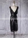 Sequined Sheath/Column V-neck Short/Mini with Ruffles Bridesmaid Dresses #DOB01013313