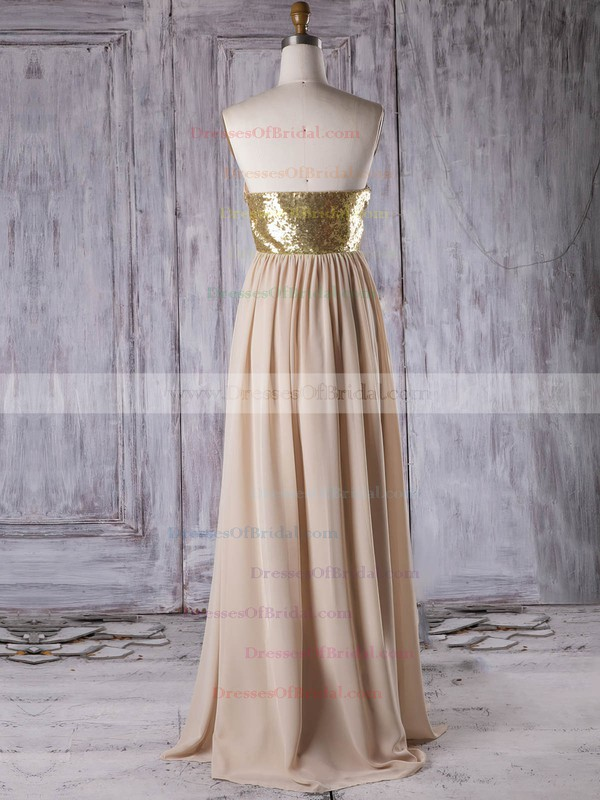 Chiffon A-line Sweetheart Floor-length with Sequins Bridesmaid Dresses #DOB01013314