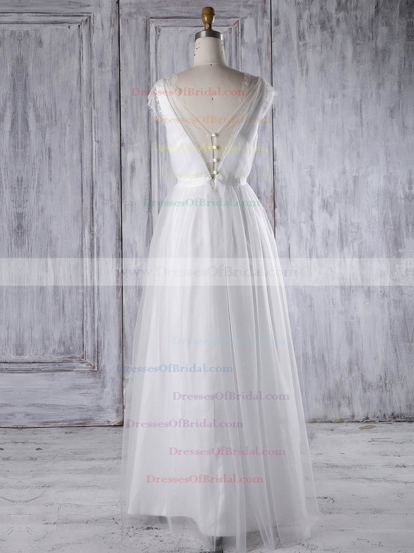 Tulle A-line V-neck Floor-length with Sashes / Ribbons Bridesmaid Dresses #DOB01013315