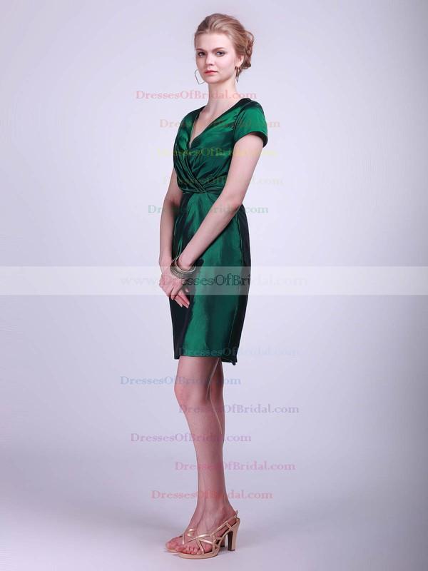 V-neck Sheath/Column Short/Mini Taffeta Ruched Bridesmaid Dresses #DOB02042130