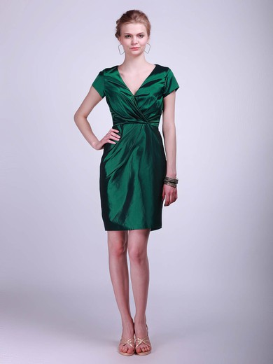 V-neck Sheath/Column Short/Mini Taffeta Ruched Bridesmaid Dresses #DOB02042130