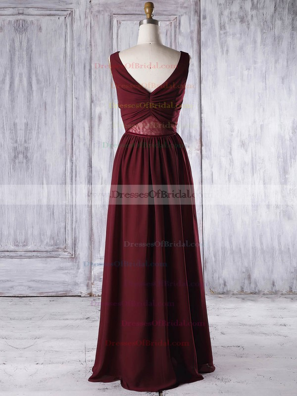 Lace Chiffon A-line V-neck Floor-length with Criss Cross Bridesmaid Dresses #DOB01013316