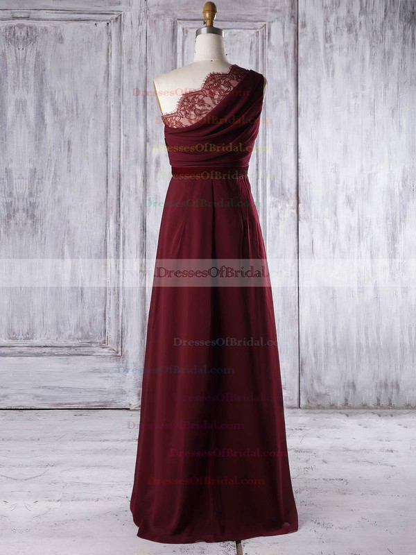 Lace Chiffon A-line One Shoulder Floor-length with Sashes / Ribbons Bridesmaid Dresses #DOB01013317