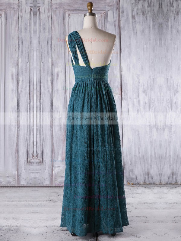 Lace A-line One Shoulder Floor-length with Ruffles Bridesmaid Dresses #DOB01013318