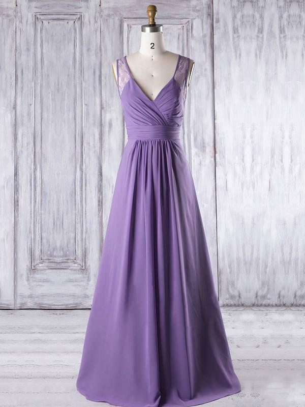 Lace Chiffon A-line V-neck Floor-length with Ruffles Bridesmaid Dresses #DOB01013319